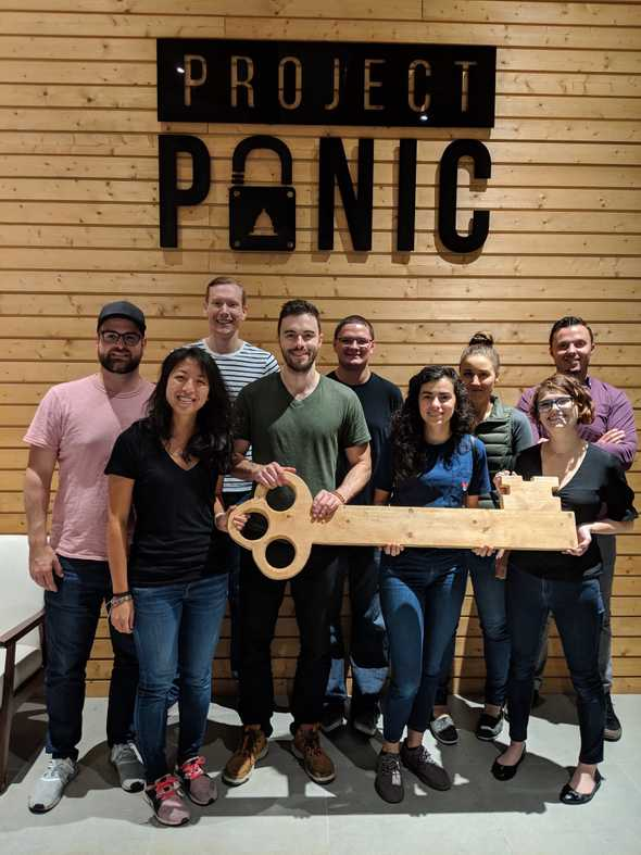 Picture of me with my team at an escape room.